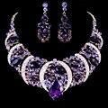 Fashion Bohemian Big Folhas Rhinestone Criado Gota de Cristal Brincos Declaração Mulheres Colar de Jóias Define Banhado A Ouro collier