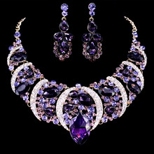 Moda Bohemia Hojas Grandes Rhinestone Creado Pendientes de Gota de Cristal Declaración Collar de Las Mujeres Conjuntos de Joyas de Oro collar