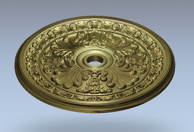 3D Round Plate Ring Relief Model In STL Format For CNC Router Carving Engraving Artcam Aspire R19