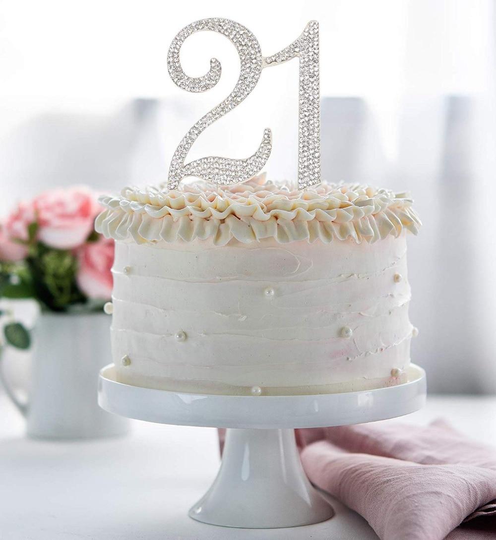 Superb Hatcher Lee Bling Crystal 21 Birthday Cake Topper Best Keepsake Personalised Birthday Cards Veneteletsinfo