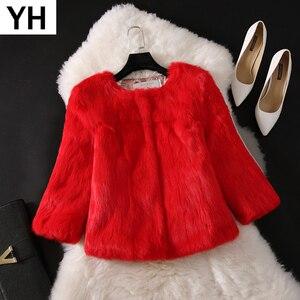Image 1 - 2020 New Hot Sale Lady Real Rabbit Fur Coat Genuine Real Rabbit Fur Jacket Casual Full Pelt 100% Natural Rabbit Fur Waistcoat