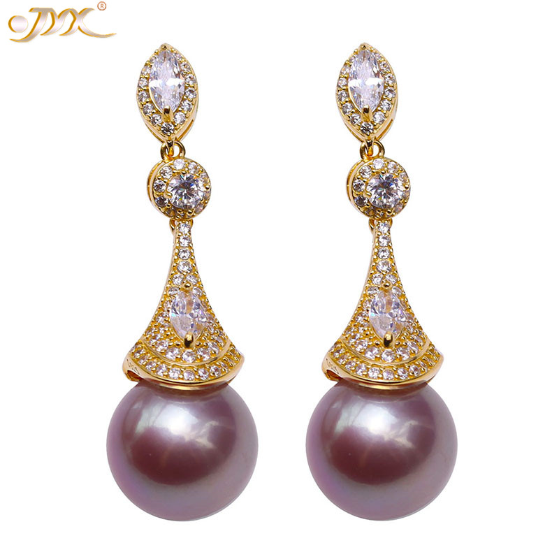 JYX For Queen purple Pearl Earrings Natural Freshwater Genuine Pearl 10.5mm Round Purple Freshwater Pearl Earrings womenJYX For Queen purple Pearl Earrings Natural Freshwater Genuine Pearl 10.5mm Round Purple Freshwater Pearl Earrings women
