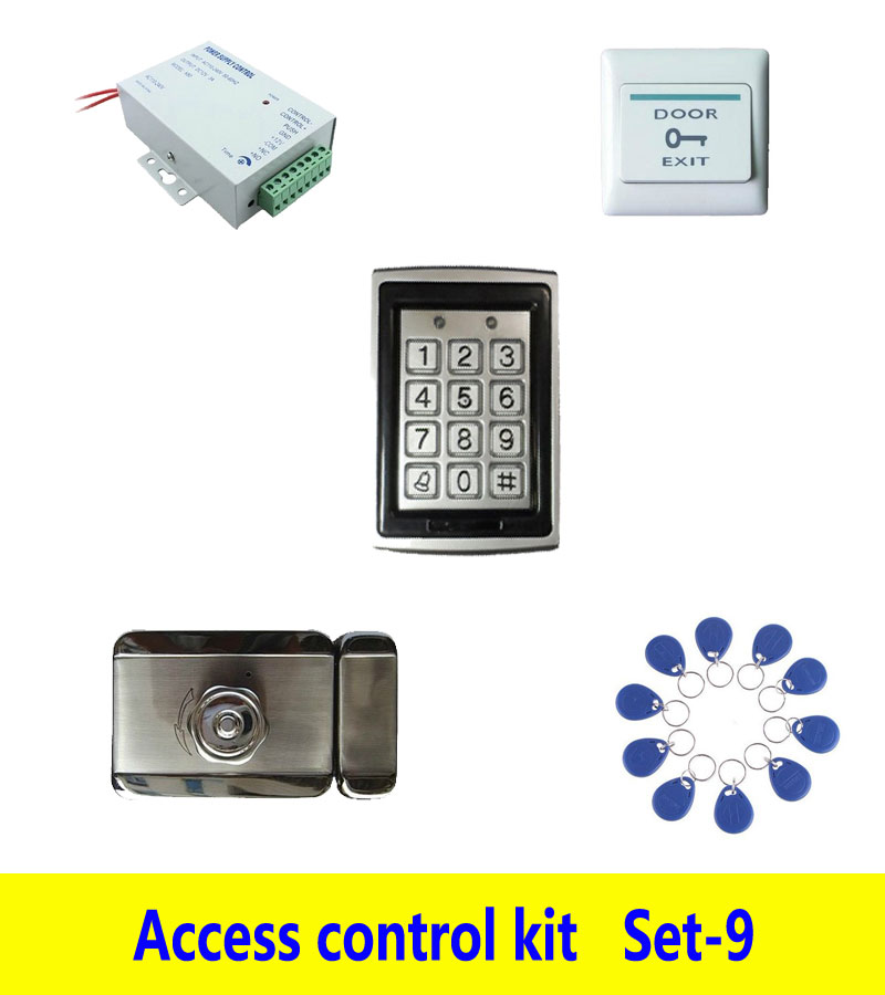 access control kit,metal shell access control +power+inteligent mute lock+ exit button+10 keyfob ID tag,sn:Tset-9 free ship by dhl access control kit waterproof access control switch power electric mute lock exit button 10 em cards sn em t10