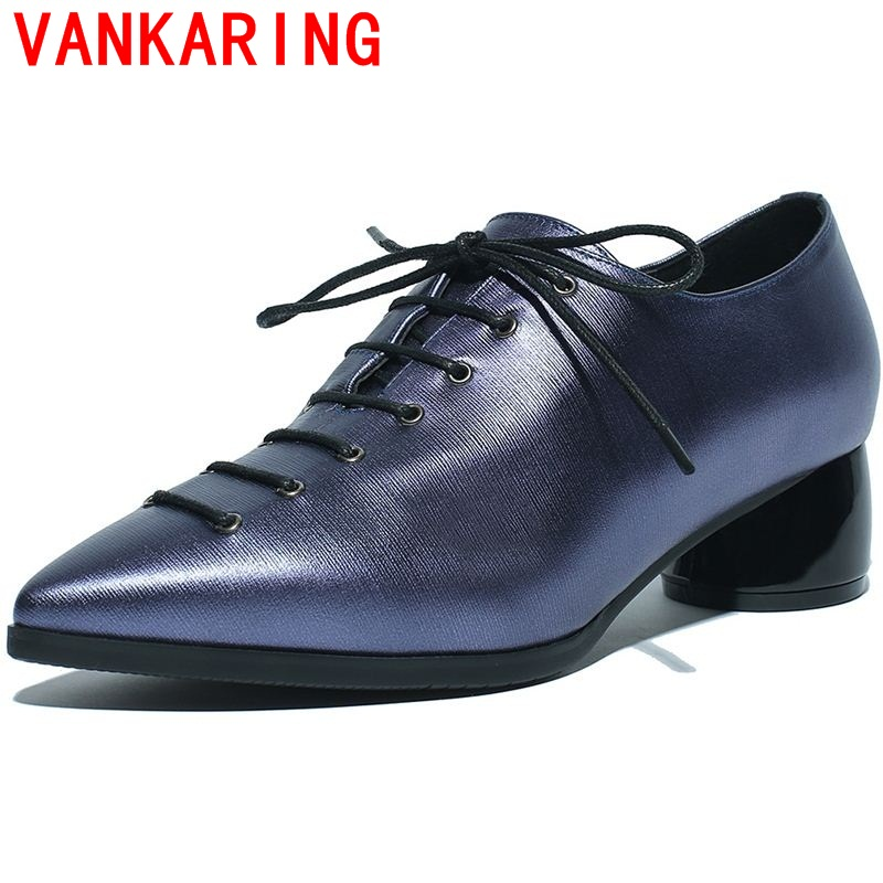 ФОТО VANKARING shoes 2017 british fashion pointed toe leisure lace up side zipper casual elegant shoes fashion simple women shoes