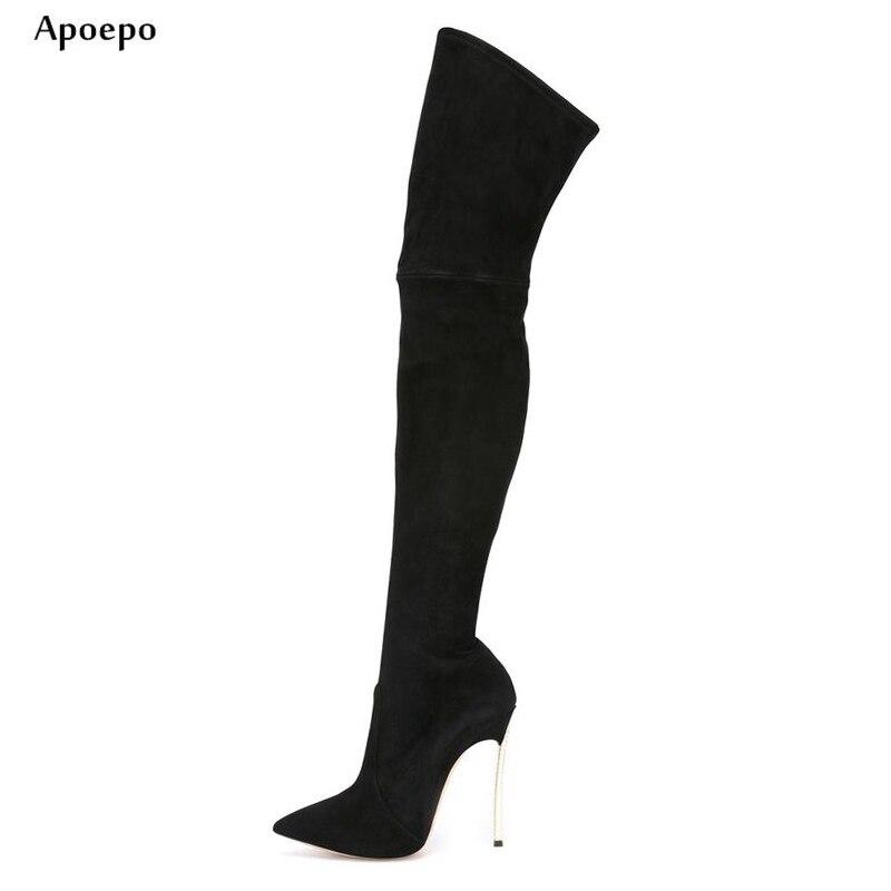 Apoepo Лидер продаж Сапоги выше колена сапоги на высоком каблуке пикантные острый носок шпильки женские ботинки модные высокие сапоги higih сапо... ...