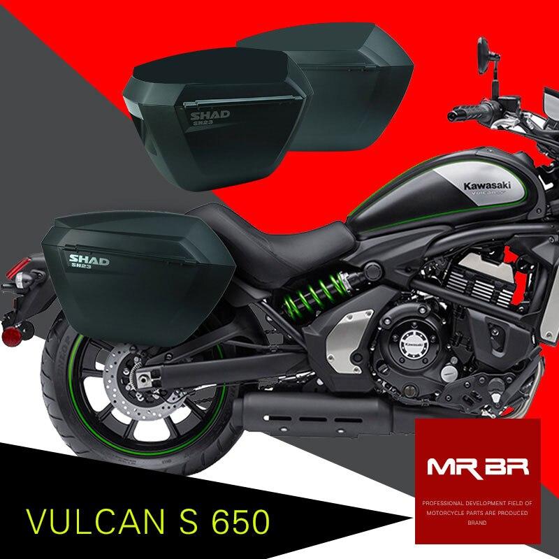 Pour KAWASAKI VULCAN S 650 SHAD SH23 boîte latérale + Rack Set moto fixation rétractable et mécanisme d'attache de sécurité sacoches de selle système de support de Brasket