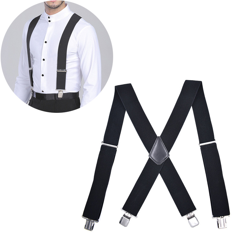 2019 Fashion Droppshiping 50mm Wide Elastic Adjustable Men Trouser Braces Suspenders X Shape with Strong Metal Clips BFJ55