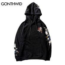 GONTHWID Embroidery Plum Flowers Bird Hoodies 2018 Winter Men Casual Hooded Sweatshirts Male Fashion Hip Hop Streetwear Hoodie