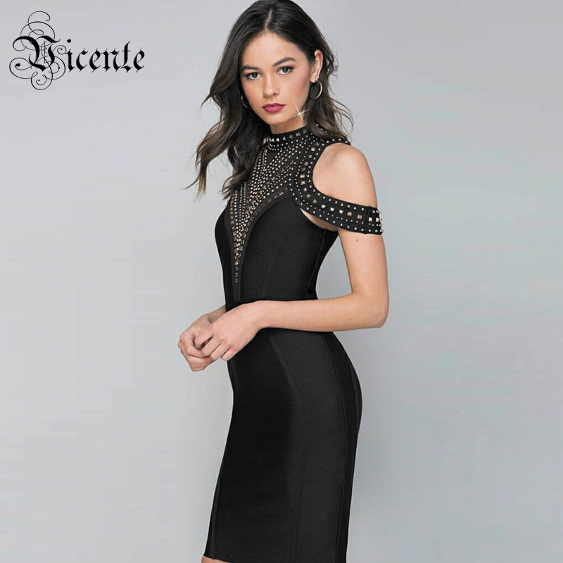 Vicente All Free Shipping HOT Fashion Golden Beads Dress Sexy Off The Shoulder Backless Celebrity Party