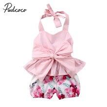 Pudcoco bebé recién nacido Bowknot Rosa Tops Floral pantalones cortos ropa  conjunto lindo del verano 2 piezas 2dfa98a9d53