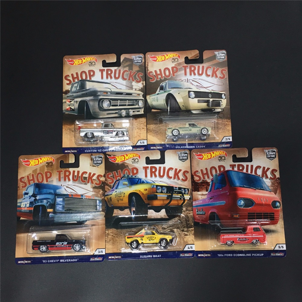 Hot Wheels Car Culture Shop Trucks CHEVY VOLKSWAGEN PICKUP Collector Edition Real Riders Metal Diecast Model Car Kids Toys Gift