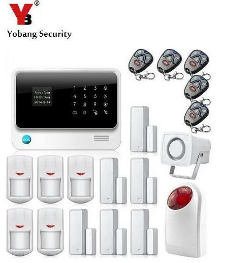YobangSecurity IOS Android APP Touch Screen G90B WIFI Wireless GSM Alarm System Security Home with Siren Door PIR Alarm Sensor yobangsecurity wifi alarm system wireless flash siren gsm burglar alarm g90b touch keypad app pir detector door gap sensor