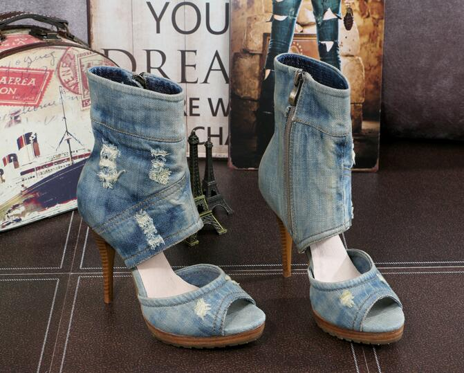 Chaussure female blue denim high heel sandals peep toe super high thin heels women fashion jeans Summer boots platform sandals dark blue belted peep toe fashion booties
