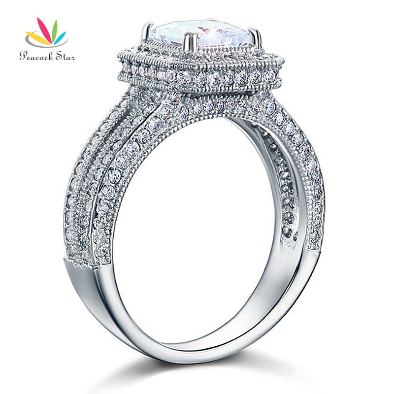 Wholesale Drop Shipping Vintage Style 1 5 Ct CZ Create Diamond Solid 925 Sterling Silver Wedding