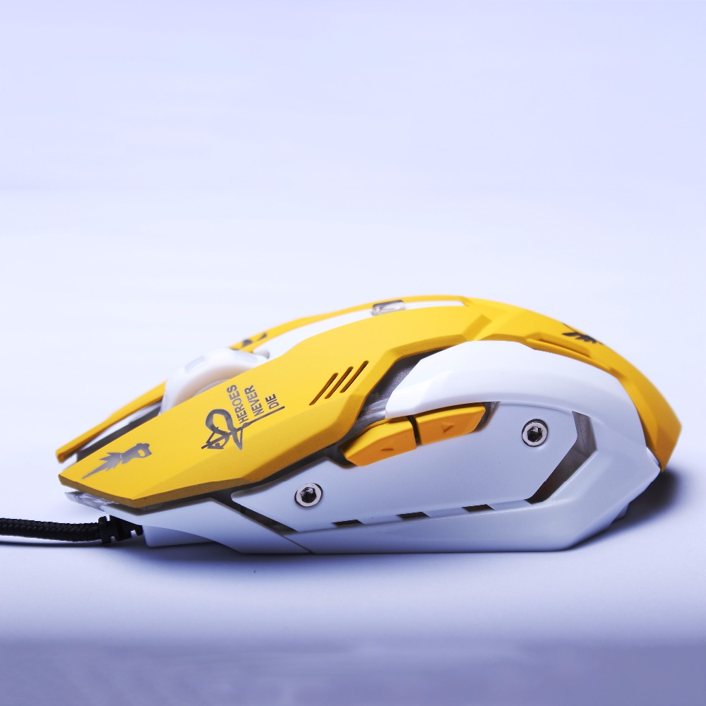 Mercy Gaming Mouse 2400 DPI USB Wired 6 Buttons Gamer Mice Ergonomic Cool Flash Lights for PC Laptop Computer Overwatch 1