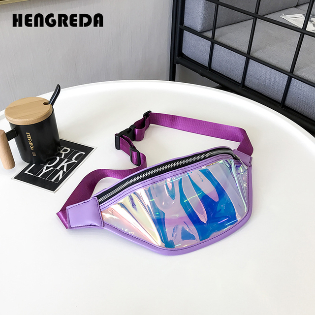Holographic Fanny Pack Waist Bag 2018 Women New Fashion Laser Shiny Neon Street Style Transparent Bum Bag Travel Beach Hengreda