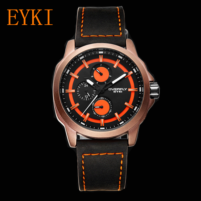 EYKI Famous Brand Mens Watches Quartz Sport Clock Military Leather Strap Male Wristwatch Waterproof Clocks Reloj mens watches top famous brand wwoor luxury male quartz watch leather strap waterproof men wristwatch clock reloj hombre