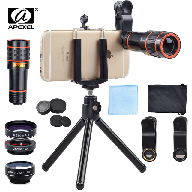 Universal 6 in 1 tripod 12X Zoom Telescope Fisheye Wide Angel Macro Lens For iPhone 6 7 Samsung S8 S7 android smartphone 12DG3