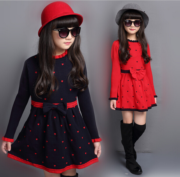 Children's Sweet Bow Wool Knitting Dress Girls Round Collar Long Sleeve Knitting Dresses Kids Fashion Love Heard Printing Dress wb 01 fashion knitting wool collar scarf neck warmer pink