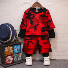 Boys fall 2016 new camouflage two-piece suit children's wear children free shipping