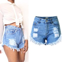 2017 European style cotton short jeans women high quality fashion all match sexy ripped pencil cowboy