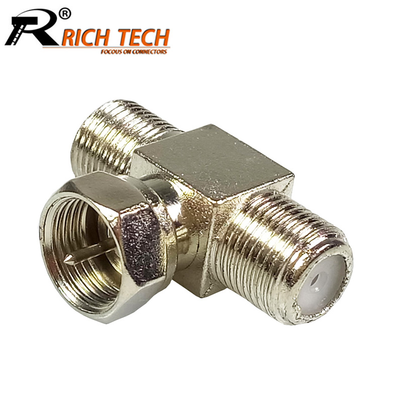 100pcs/lot 1xF Male Plug to 2x Female Bulkhead Jack RF Connector T Shape 3-way F Coax Adapter f Plug to Dual f Jack Socket
