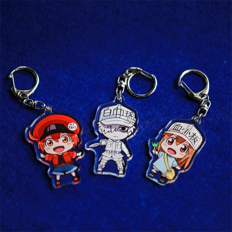 Anime Hataraku Saibou Erythrocyte Platelet Keychain Acrylic Keyring Key Chain Pendants