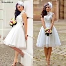 Винтажные кружевные свадебные платья трапециевидной формы, короткие пляжные свадебные платья в стиле бохо, свадебные платья с высоким воротом и молнией сзади длиной до колена