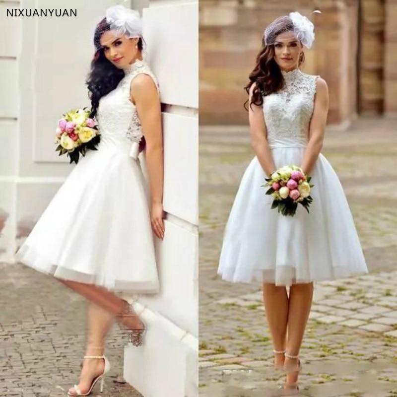 2020 Vintage Lace A Line Wedding Dresses Short Boho Beach Bridal Gowns High Neck Back Zipper Knee Length Bridal Gowns