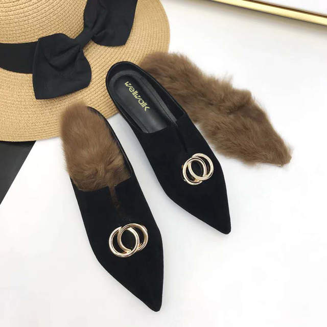 e8674eeac placeholder Autumn Shoes Women Fur Slippers Pointed Toe Mules Ladies  Sliders Shoes Luxury Buckle Fenty Beauty Furry