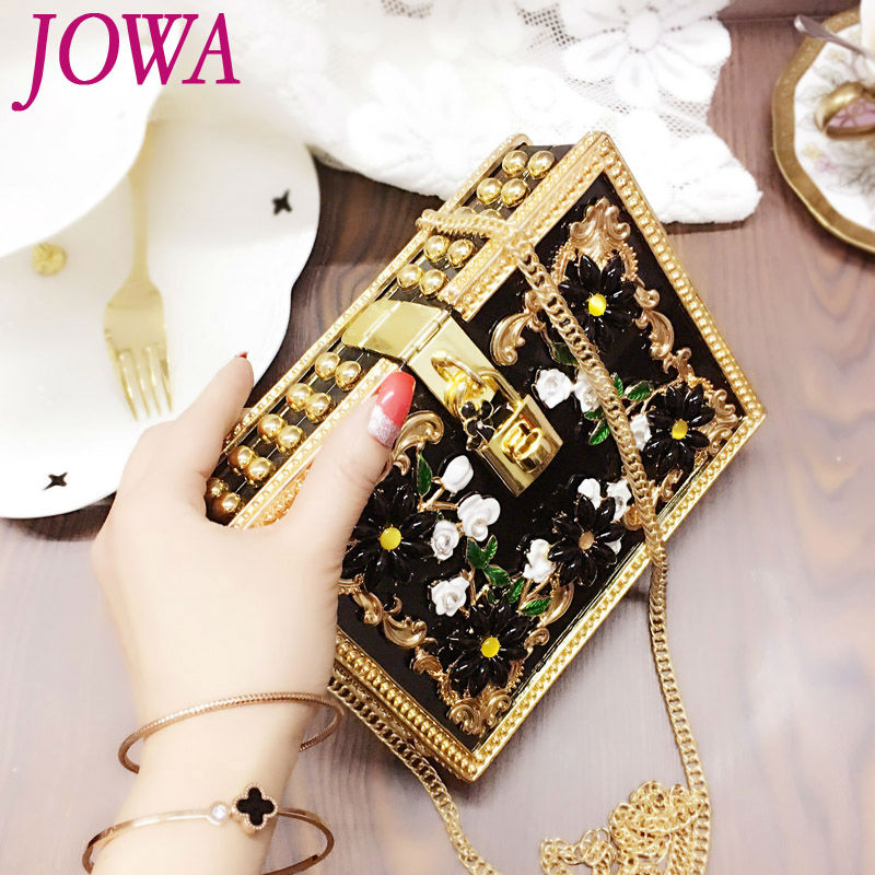 2017 New Design Women's Fashion Evening Bags Diamonds Flower Handbag Ladies Clutches Wedding Party Handbags Chain Messenger Bag