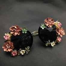 Fashion Baroque Women Metal Flower Sunglasses Retro Brand Luxury Gems Sunglasses