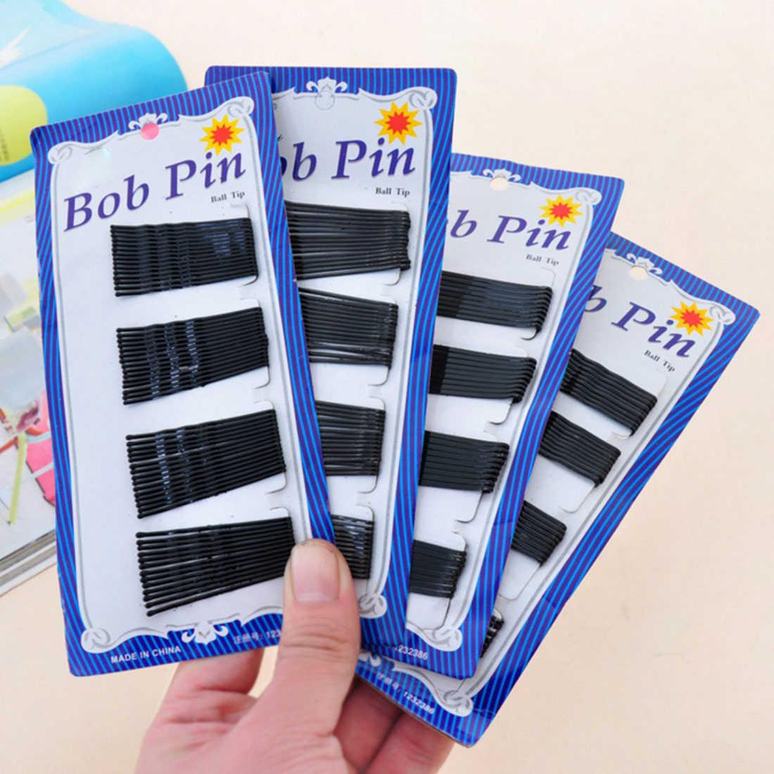 60 шт. Топ продаж черные невидимые заколки для волос Волнистые прямые булавки Грипсы заколка Популярные Простые шпильки аксессуары для волос