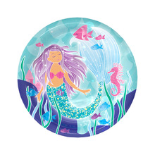 6pcs Mermaid theme Paper tray plate party decoration easter wedding baby shower happy birthday cups Party supplies