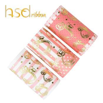 HSDRibbon 75MM 3 inch HSD-Designer make Perfume bottles Gold Foil Printed on HT Grosgrain Ribbon