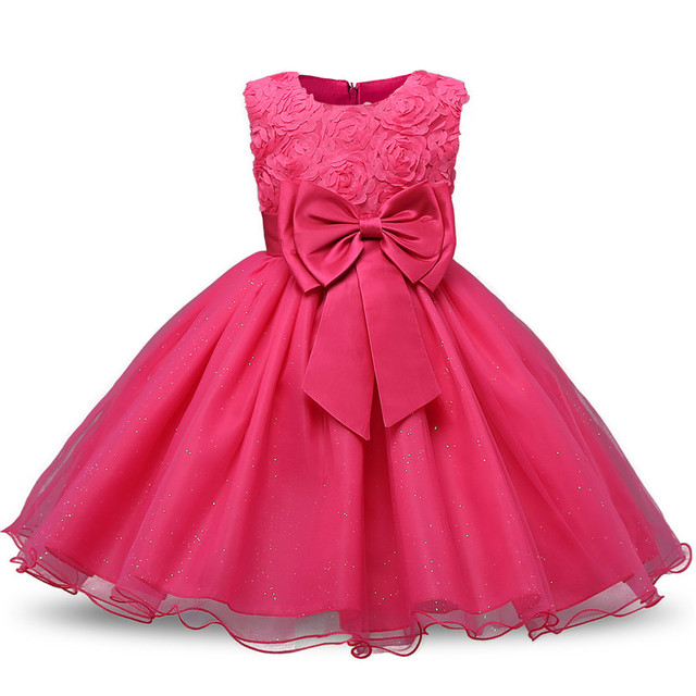 Free shipping 2018 New girls party dress beautiful rose bow grace princess  dresses fashion solid kids clothes pageant dress -in Dresses from Mother    Kids ... f36cc14a8194