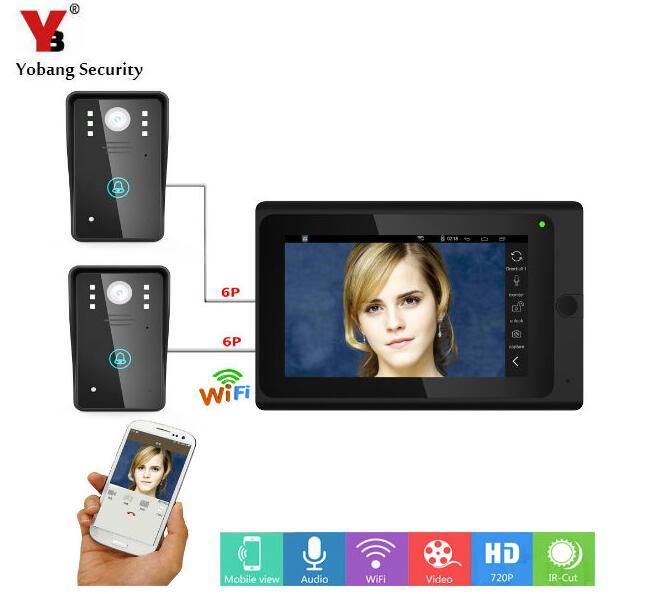 Yobang Security 7inch Smart Wireless Video Intercom Speakerphone System With Waterproof Digital Doorbell Camera Viewer IR-CUT