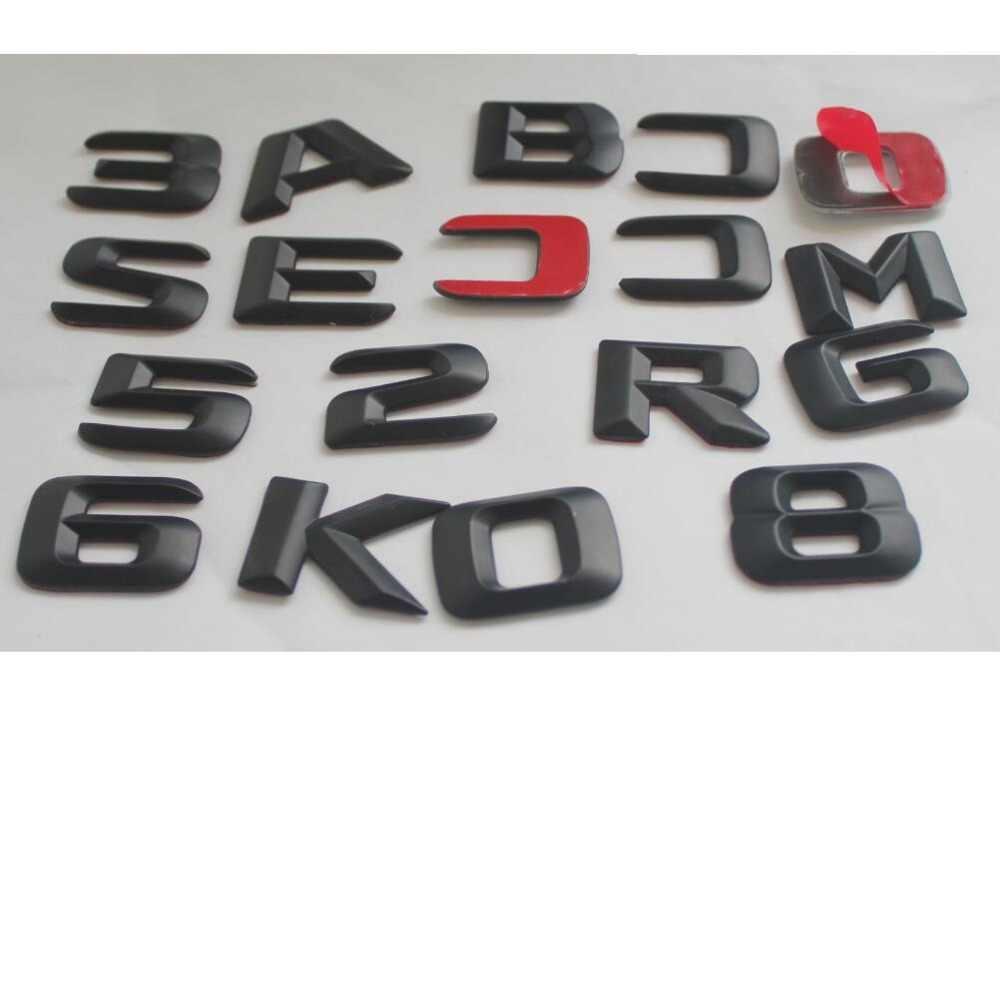 1 Set Matt Hitam ABS Bagasi Mobil Belakang Nomor Huruf Kata Lencana Emblem Decal Stiker untuk Mercedes Benz R63