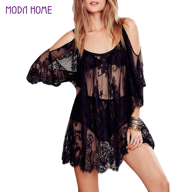 2018 Women Beach Dress Sexy Strap Sheer Floral Lace Embroidered Crochet Summer Dresses Hippie Boho Dress Vestidos Beach Wear