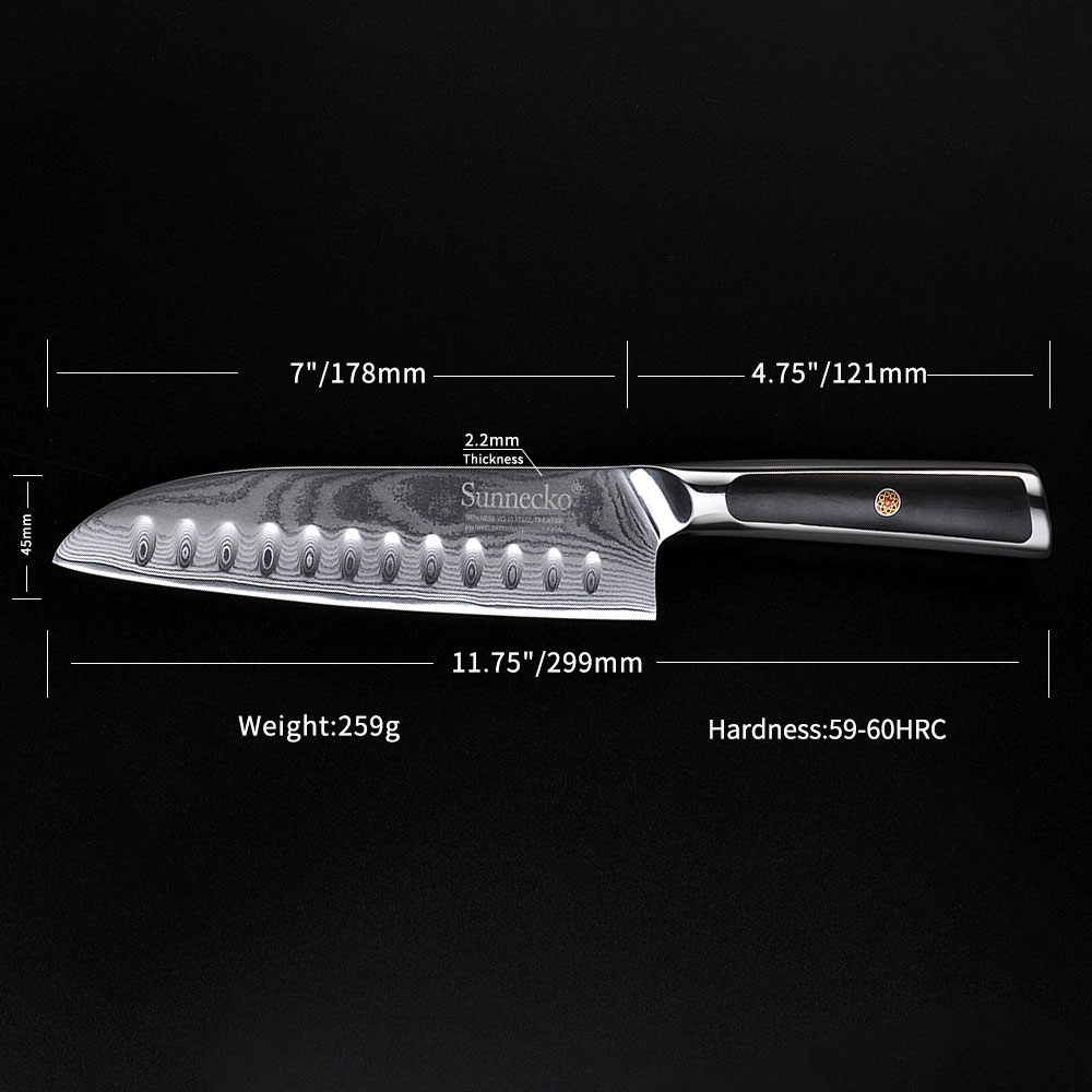SUNNECKO 7 Santoku Knives amascus VG10 Super Steel Core Razor Sharp Slicing Knife Fruit Meat Chopping Veg Paring G10 Handle