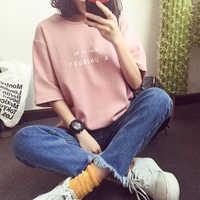 Campus Stil Frauen T-shirt Mode Letters Print Kurzarm Rundhals Baumwolle T shirt Femme Weichen Bequemen Mädchen Tops