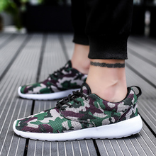 New Men Walking Mesh Shoes Lace Up Male Youth Casual Footwear Non-Slip Low Top Camo Sneakers