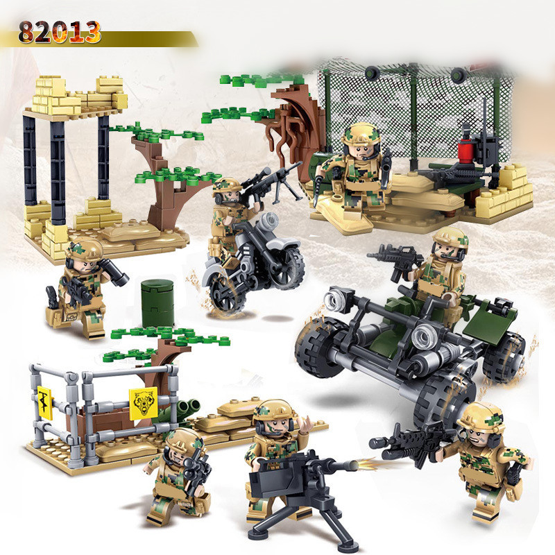 4 in 1 Special Forces Military SWAT World War Army Weapon Soldier Gun Marine Corps Police Building Blocks Toy Boy Gift Children