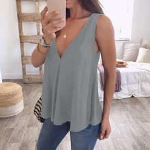 Ladies Chiffon Tops Sexy Deep V-collar Loose Solid Color Sleeveless Shi