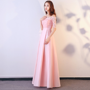 Image 3 - XBQS1107#Lace up Peach pink styles of long medium and short Bridesmaid Dresses wedding party prom dress 2019 wholesale clothing
