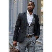 2018 Latest Coat Pant Design Black Men wedding Suits Terno Slim Fit Skinny 3 Pieces grey Tuxedo Casual Custom Mens Blazer Suit
