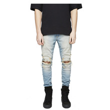 Top quality 2019 Fashion Casual Knee zipper ripped hole jeans washing Vintage mens Hip hop streetwear hip skinny jean