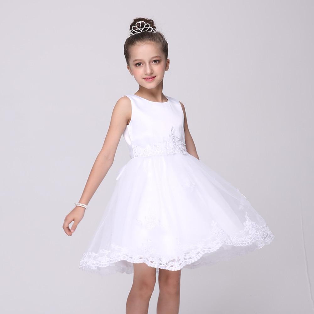 Short White Flower Girls Dresses For Wedding Gowns Fashion Girl