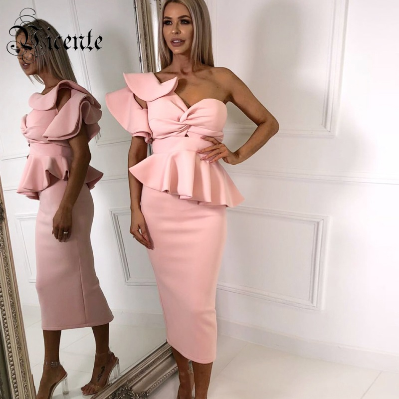 Free Shipping! 2018 New Chic Elegant Ruffles Embellished Sexy One Shoulder Strapless Wholesale Party Two Pieces Long Dress Suit