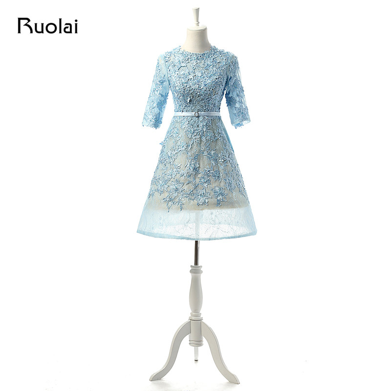 Elegant Lace Appliques Sequined Scoop Half Sleeves Knee Length Short Prom Dress Formal Party Dress Vestido corto de fiesta FP1